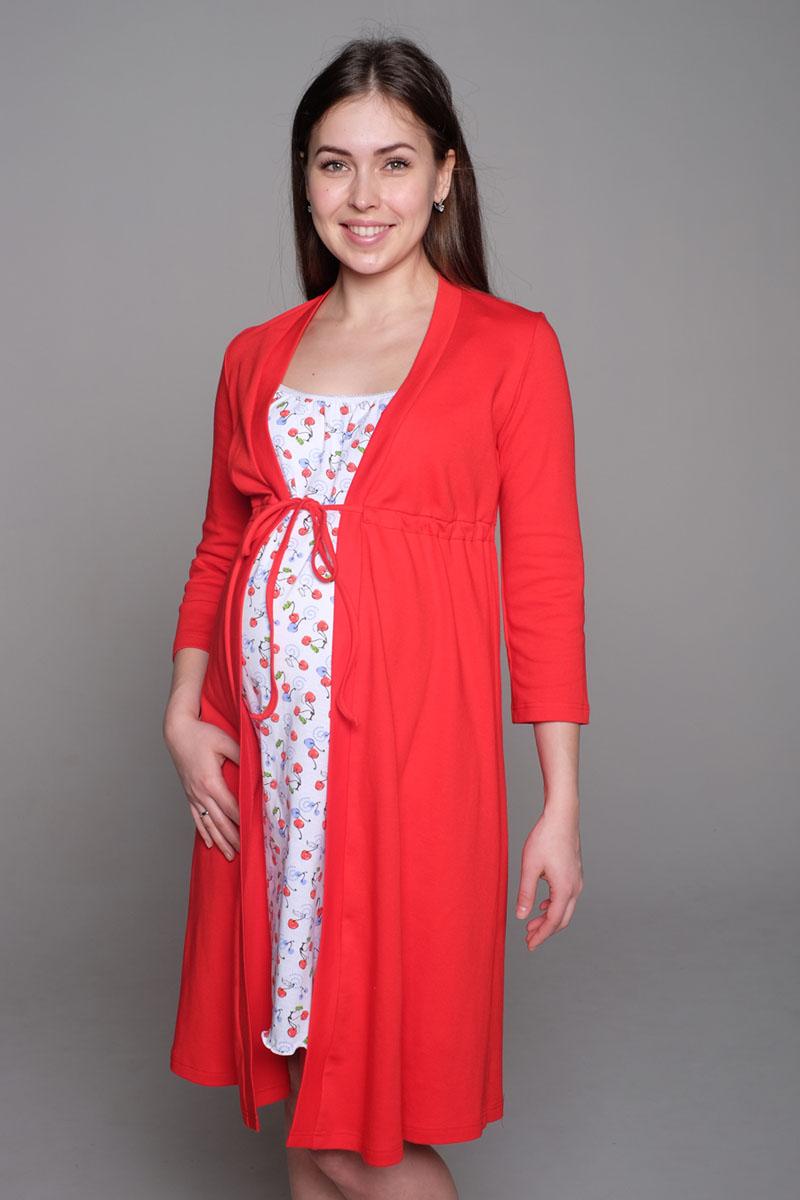 Комплект для беременных и кормящих Hunny Mammy: халат, сорочка ночная, цвет: красный, белый. К 09221. Размер 52К 09221Комплект, выполненный из хлопка, состоит из ночной сорочки и халата. Халат-пеньюар трапециевидного силуэта, рукав 3/4. Сорочка на бретели с клипсой для кормления.
