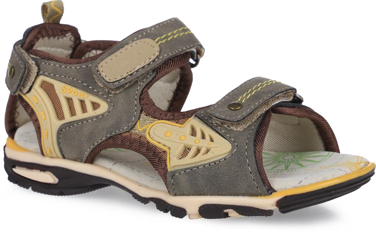 Сандалии для мальчика Аллигаша, цвет: коричневый. 12-203. Размер 3012-203Модные сандалии от Аллигаша приведут в восторг вашего мальчика. Верх модели, выполненный из искусственной кожи, дополнен вставками из текстиля и нашивками из ПВХ. Ремешки с застежками-липучками, оформленные металлическими заклепками и декоративной прострочкой, обеспечивают надежную фиксацию модели на ноге. Внутренняя поверхность из текстиля и стелька из натуральной кожи комфортны при ходьбе. Стелька оснащена супинатором, который обеспечивает правильное положение стопы ребенка при ходьбе и предотвращает плоскостопие. Подошва с рифлением гарантирует отличное сцепление с любой поверхностью. Стильные сандалии - незаменимая вещь в гардеробе каждого мальчика!