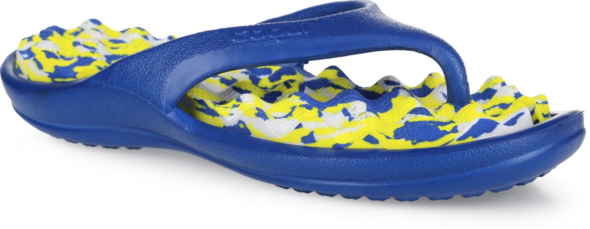 Сланцы для девочки Аллигаша, цвет: синий. 6612/6614. Размер 386612/6614вЯркие, многофункциональные, комфортные сланцы от Аллигаша придутся по душе вашей дочурке. Верх модели выполнен из резины и оформлен на ремешке буквенным тиснением. Ремешки с перемычкой гарантируют надежную фиксацию модели на ноге. Верхняя часть подошвы, изготовленная из ЭВА материала, дополнена рифлением, предотвращающим выскальзывание ноги и обладающим массажным эффектом. Материал ЭВА имеет пористую структуру, обладает великолепными теплоизоляционными и морозостойкими свойствами, 100% водонепроницаемостью, придает обуви амортизационные свойства, мягкость при ходьбе, устойчивость к истиранию подошвы. Рельефное основание подошвы обеспечивает уверенное сцепление с любой поверхностью. Удобные сланцы прекрасно подойдут не только для похода в бассейн или на пляж.