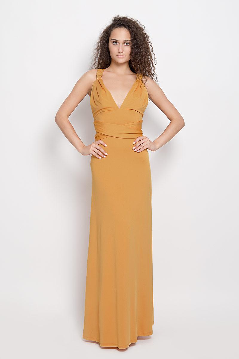 Платье Ruxara, цвет: горчичный. 103200_83. Размер 44103200_83Стильное платье-макси Ruxara, выполненное из высококачественного комбинированного материала, поможет создать отличный современный образ.Модель-трансформер с глубоким V-образным вырезом горловины дополнена широкими длинными лентами, которые можно завязать различными способами. Такое платье поможет создать яркий и привлекательный образ, в нем вам будет удобно и комфортно.