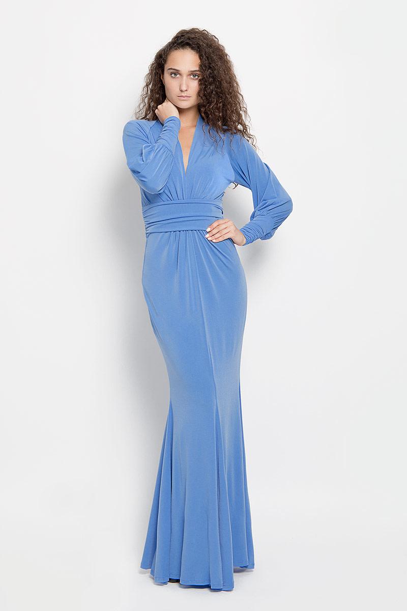 Платье Ruxara, цвет: синий. 106100_27. Размер 44106100_27Стильное платье-макси Ruxara, выполненное из высококачественного комбинированного материала, поможет создать отличный современный образ.Модель приталенного силуэта с глубоким V-образным вырезом горловины и длинными рукавами-реглан. Низ рукавов дополнен широкими манжетами, которые собраны на резинку. Изделие по талии оформлено широким поясом со сборкой.Такое платье поможет создать яркий и привлекательный образ, в нем вам будет удобно и комфортно.
