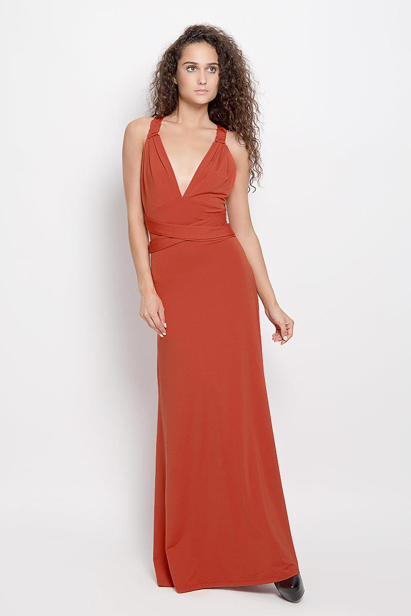Платье Ruxara, цвет: терракотовый. 103200_56. Размер 46103200_56Стильное платье-макси Ruxara, выполненное из высококачественного комбинированного материала, поможет создать отличный современный образ.Модель-трансформер с глубоким V-образным вырезом горловины дополнена широкими длинными лентами, которые можно завязать различными способами. Такое платье поможет создать яркий и привлекательный образ, в нем вам будет удобно и комфортно.