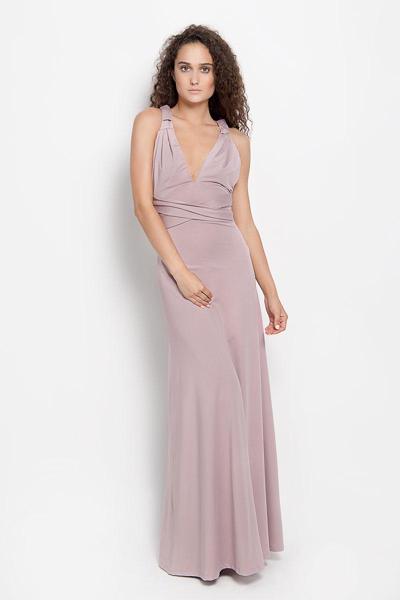 Платье Ruxara, цвет: серо-розовый. 103200_60. Размер 46103200_60Стильное платье-макси Ruxara, выполненное из высококачественного комбинированного материала, поможет создать отличный современный образ.Модель-трансформер с глубоким V-образным вырезом горловины дополнена широкими длинными лентами, которые можно завязать различными способами. Такое платье поможет создать яркий и привлекательный образ, в нем вам будет удобно и комфортно.