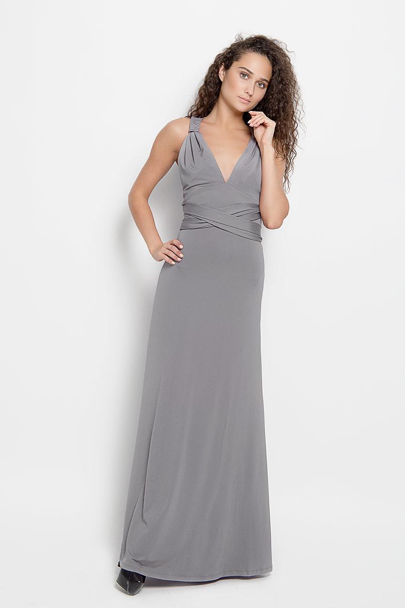 Платье Ruxara, цвет: серый. 103200_11. Размер 46103200_11Стильное платье-макси Ruxara, выполненное из высококачественного комбинированного материала, поможет создать отличный современный образ.Модель-трансформер с глубоким V-образным вырезом горловины дополнена широкими длинными лентами, которые можно завязать различными способами. Такое платье поможет создать яркий и привлекательный образ, в нем вам будет удобно и комфортно.