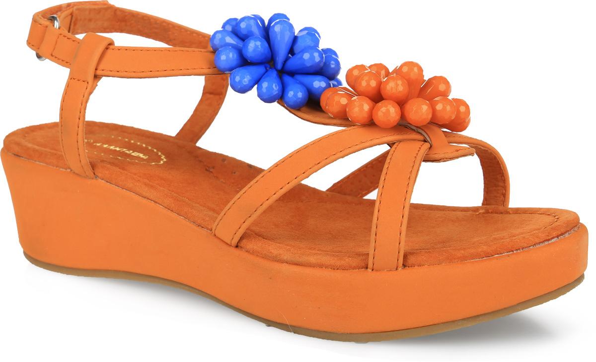 Босоножки для девочки Аллигаша, цвет: оранжевый. 40. Размер 3340Прелестные босоножки от Аллигаша придутся по душе вашей девочке и идеально подойдут для повседневной носки в летнюю погоду! Модель выполнена из искусственной кожи. Ремешок на подъеме оформлен композициями из пластиковых бусин. Ремешок с застежкой-липучкой обеспечивает надежную фиксацию модели на ноге. Внутренняя поверхность и стелька из натуральной кожи комфортны при ходьбе. Стелька дополнена супинатором с перфорацией, который обеспечивает правильное положение стопы ребенка при ходьбе и предотвращает плоскостопие. Танкетка компенсирована платформой. Подошва с рифлением гарантирует отличное сцепление с любой поверхностью. Модные босоножки - незаменимая вещь в гардеробе каждой девочки!