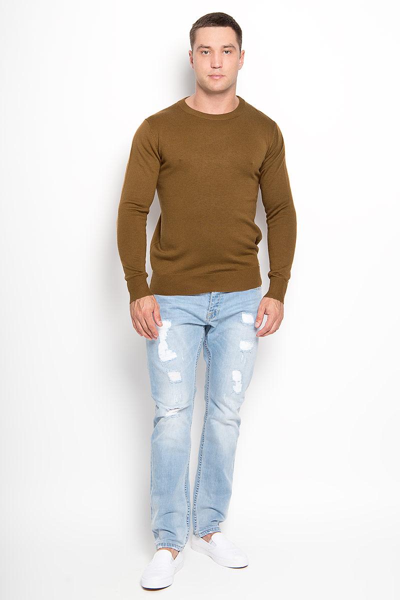 Джемпер мужской Finn Flare, цвет: коричневый. A16-21101_611. Размер L (50)A16-21101_611Оригинальный мужской джемпер Finn Flare, изготовленный из высококачественной пряжи из акрила с добавлением нейлона и шерсти, мягкий и приятный на ощупь, не сковывает движений и обеспечивает наибольший комфорт.Модель с круглым вырезом горловины и длинными рукавами великолепно подойдет для создания современного образа в стиле Casual. Горловина, манжеты рукавов и низ джемпера связаны резинкой. Однотонный джемпер будет превосходно смотреться как с джинсами, так и с классическими брюками.Этот джемпер послужит отличным дополнением к вашему гардеробу. В нем вы всегда будете чувствовать себя уютно и комфортно в прохладную погоду.