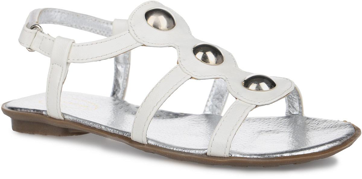 Сандалии для девочки Аллигаша, цвет: белый. 12-221. Размер 3712-221Модные сандалии от Аллигаша придутся по душе вашей юной моднице и идеально подойдут для повседневной носки в летнюю погоду. Модель изготовлена из искусственной кожи и оформлена на подъеме металлическими элементами. Внутренняя поверхность и стелька из натуральной кожи комфортны при движении. Стелька дополнена супинатором, который обеспечивает правильное положение стопы ребенка при ходьбе и предотвращает плоскостопие. Ремешок с застежкой-липучкой обеспечивает надежную фиксацию модели на ноге. Подошва с рифлением гарантирует отличное сцепление с любой поверхностью. Стильные сандалии - незаменимая вещь в гардеробе каждой девочки!