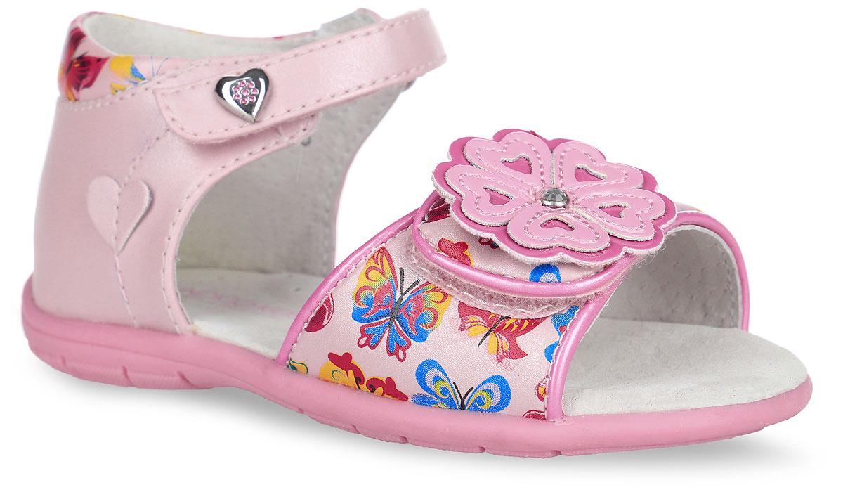 Сандалии для девочки Indigo Kids, цвет: розовый. 21-161A/12. Размер 2221-161A/12Прелестные сандалии от Indigo Kids придутся по душе вашей девочке и идеально подойдут для повседневной носки в летнюю погоду! Модель, выполненная из искусственной и натуральной кожи, оформлена принтом в виде бабочек, на переднем ремешке - декоративным цветком, украшенным крупным стразом, на верхнем ремешке - металлическим элементом в виде сердца со стразами, сбоку - нашивкой в виде сердца. Ремешки с застежками-липучками обеспечивают надежную фиксацию модели на ноге. Внутренняя поверхность и стелька из натуральной кожи комфортны при ходьбе. Стелька оснащена супинатором, который обеспечивает правильное положение стопы ребенка при ходьбе и предотвращает плоскостопие. Подошва с рифлением гарантирует отличное сцепление с любой поверхностью. Стильные сандалии - незаменимая вещь в гардеробе каждой девочки!
