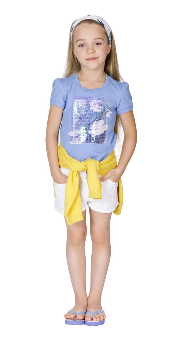Футболка для девочки Gulliver Голубая стрекоза, цвет: голубой. 11602GMC1204. Размер 98, 2-3 года11602GMC1204Футболка для девочки Gulliver Голубая стрекоза сделает образ ребенка ярким и оригинальным. Изготовленная из эластичного хлопка, она мягкая и приятная на ощупь, не сковывает движения и позволяет коже дышать, обеспечивая комфорт. Футболка трапециевидного силуэта с круглым вырезом горловины и короткими рукавами-фонариками оформлена эффектным принтом с изображением стрекоз, расшитым сияющими пайетками. Спинка модели удлинена.Стильный дизайн и высокое качество исполнения принесут удовольствие от покупки и подарят отличное настроение!