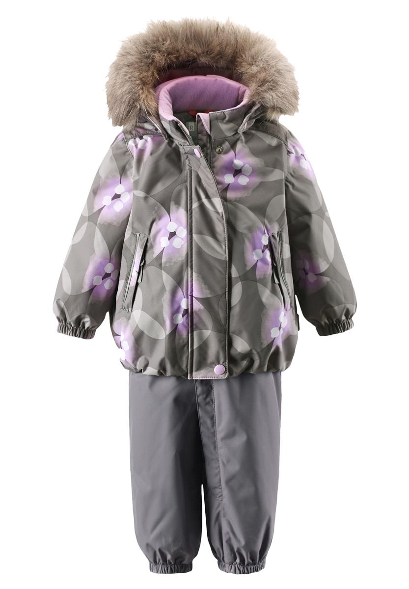 Комплект для девочки Reima Muhvi: куртка, брюки, цвет: серый, сиреневый. 511228B-6991. Размер 74