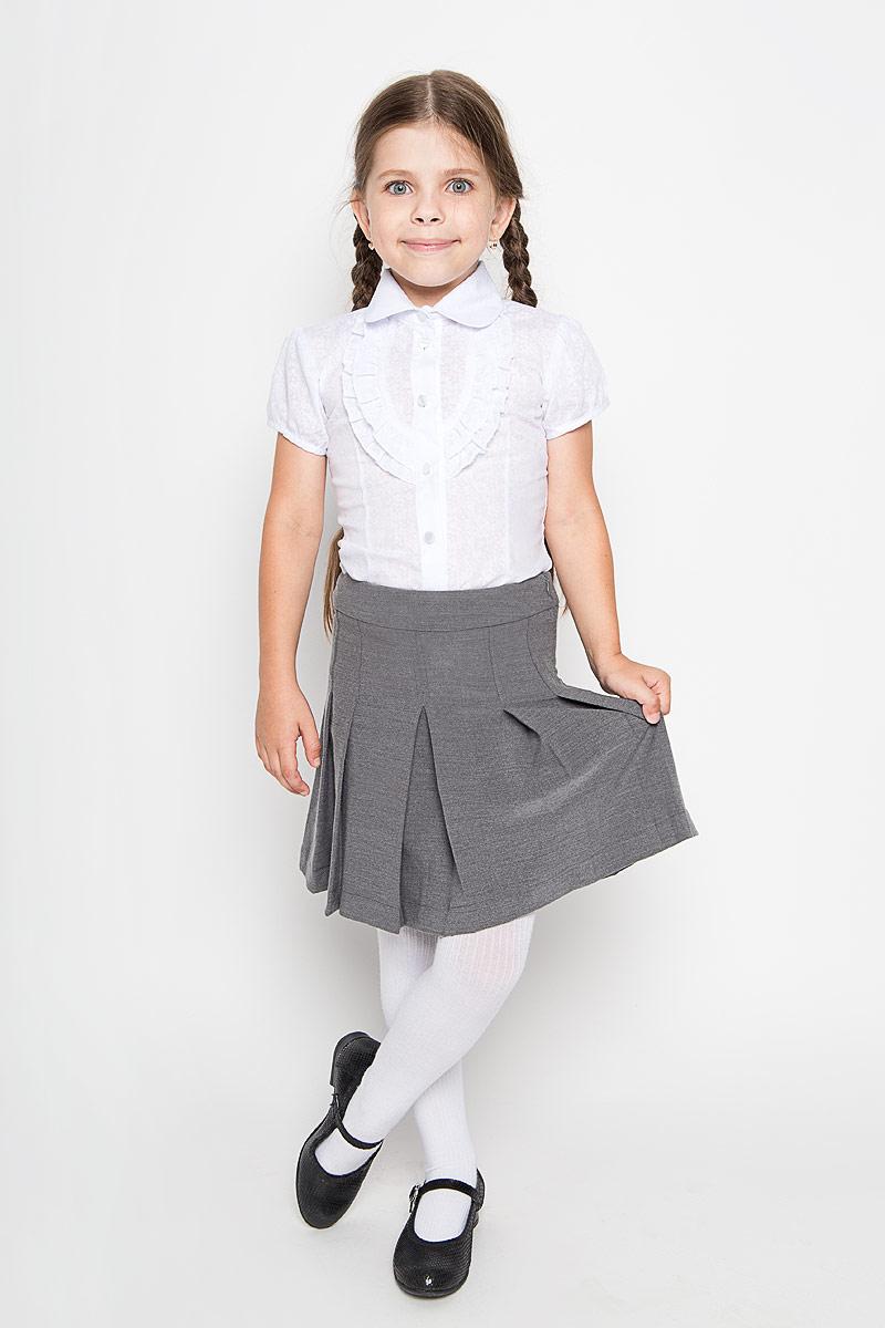 Юбка для девочки Nota Bene, цвет: серый. CWA26002B-20. Размер 146CWA26002A-20/CWA26002B-20Классическая юбка для девочки Nota Bene идеально подойдет вашей моднице и станет отличным дополнением к ее школьному гардеробу. Изготовленная из полиэстера и вискозы с добавлением лайкры, она мягкая и приятная на ощупь, не сковывает движения и позволяет коже дышать, не раздражает нежную кожу ребенка, обеспечивая наибольший комфорт. Модель-миди застегивается на застежку-молнию, расположенную сбоку. С внутренней стороны пояс регулируется эластичной резинкой с пуговицами. Изделие оформлено широкими складками.В такой модной юбке ваша дочурка будет чувствовать себя комфортно, уютно и всегда будет в центре внимания!