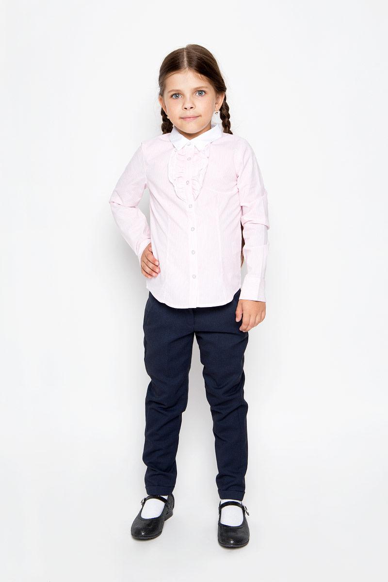 Блузка для девочки Sela, цвет: розовый. B-612/005-6311. Размер 140, 10 летB-612/005-6311Стильная приталенная блузка для девочки Sela идеально подойдет вашей дочурке. Изготовленная из натурального хлопка, она мягкая и приятная на ощупь, не сковывает движения и позволяет коже дышать, обеспечивая наибольший комфорт. Блузка с длинными рукавами и отложным воротничком застегивается на пластиковые пуговицы по всей длине. Рукава дополнены манжетами на пуговицах. Модель украшена оборками на груди и оформлена принтом в узкую полоску.Современный дизайн и расцветка делают эту блузку стильным предметом детского гардероба. Модель можно носить как с джинсами, так и с классическими брюками.