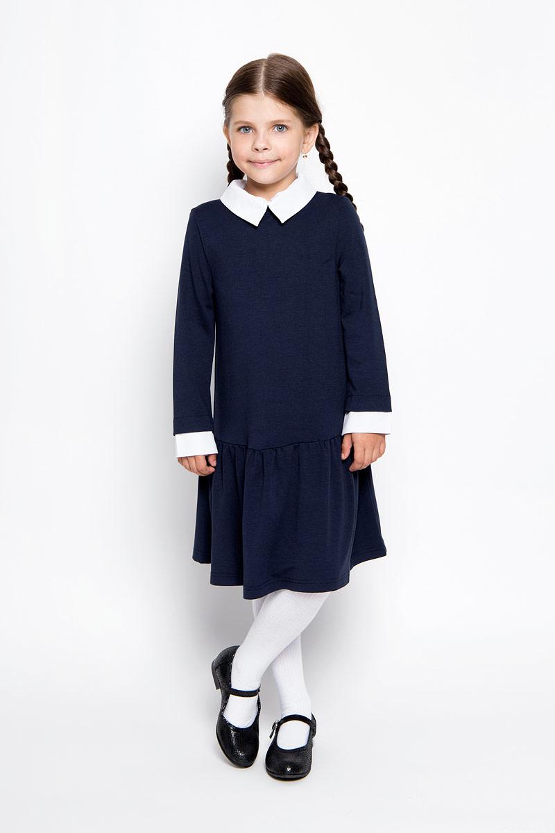 Платье для девочки Orby School, цвет: темно-синий. 64135_OLG, вариант 1. Размер 122/128, 7-8 лет64135_OLG,вариант 1Очаровательное платье для девочки Orby School идеально подойдет вашей малышке. Платье выполнено из эластичной вискозы с добавлением полиэстера, оно необычайно мягкое и эластичное, не сковывает движения малышки, великолепно отводит влагу от тела и не раздражает даже самую нежную и чувствительную кожу ребенка, обеспечивая наибольший комфорт. Платье-миди с длинными рукавами и отложным воротником застегивается на застежку-молнию на спинке. Рукава дополнены контрастными манжетами. Пришивная юбка платья оформлена небольшими складками. Оригинальный современный дизайн и модная расцветка делают это платье великолепным дополнением школьного гардероба. В нем ваша малышка будет чувствовать себя уютно и комфортно и всегда будет в центре внимания!