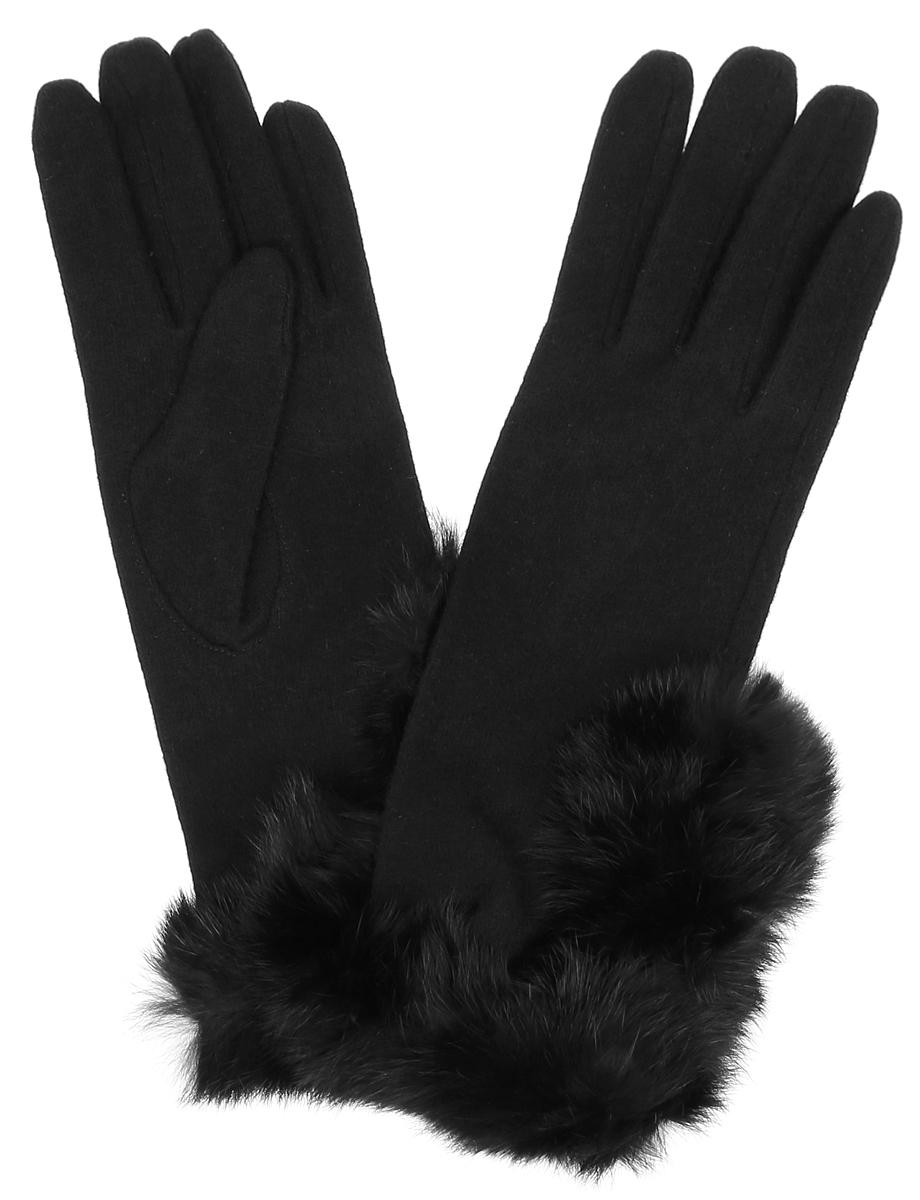 Перчатки женские Finn Flare, цвет: черный. A16-11302_200. Размер 7,5A16-11302_200Элегантные женские перчатки Finn Flare станут великолепным дополнением вашего образа и защитят ваши руки от холода и ветра во время прогулок.Перчатки выполнены из шерсти с добавлением нейлона, что позволяет им надежно сохранять тепло. Модель украшена окантовкой из искусственного меха. Такие перчатки будут оригинальным завершающим штрихом в создании современного модного образа, они подчеркнут ваш изысканный вкус и станут незаменимым и практичным аксессуаром.