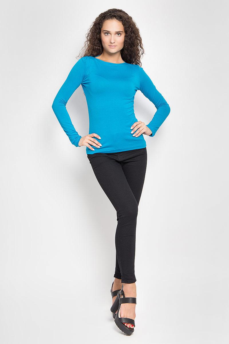 Лонгслив женский Ruxara, цвет: сине-голубой. 855500_69. Размер 52855500_69Женский лонгслив Ruxara, выполненный из вискозы с добавлением лайкры, поможет создать отличный современный образ в стиле Casual. Модель приталенного силуэта с вырезом горловины лодочкой и длинными рукавами. Такой лонгслив станет стильным дополнением к вашему гардеробу, он подарит вам комфорт в течение всего дня!