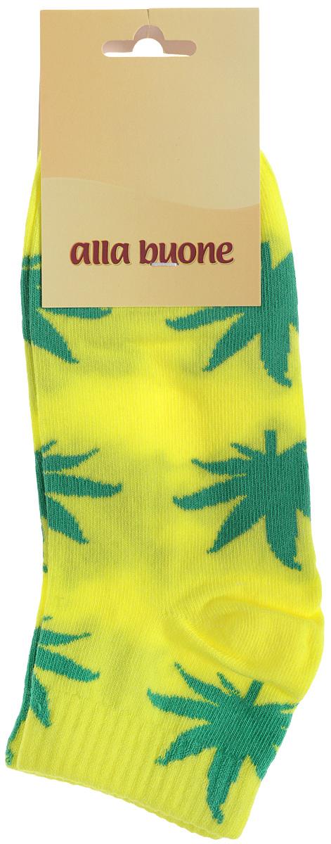 Носки женские Alla Buone, цвет: желтый. 030CD. Размер 25 (38/40)030CDУдобные носки Alla Buone, изготовленные из высококачественного комбинированного материала, очень мягкие и приятные на ощупь, позволяют коже дышать.Эластичная резинка плотно облегает ногу, не сдавливая ее, обеспечивая комфорт и удобство. Носки с укороченным паголенком оформлены контрастным принтом в виде листьев.Практичные и комфортные носки великолепно подойдут к любой вашей обуви.