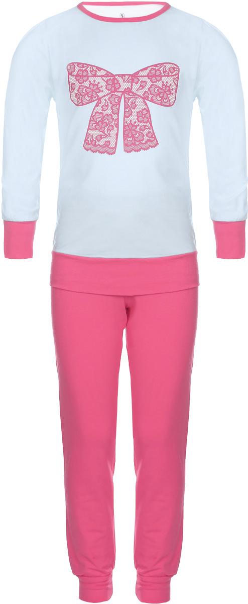 Пижама для девочки Baykar, цвет: светло-голубой, розовый. N9005217B-9. Размер 122/128N9005217A-9/N9005217B-9Пижама для девочки Baykar, выполненная из мягкого эластичного хлопка, идеально подойдет маленькой принцессе для сна и отдыха. Материал приятный к телу, не стесняет движений, хорошо пропускает воздух. Пижама состоит из футболки с длинным рукавом и брюк. Футболка с длинными рукавами и круглым вырезом горловины украшена изображением кружевного бантика. Вырез горловины оформлен эластичной бейкой. На рукавах имеются широкие манжеты.Брюки имеют на талии мягкую широкую резинку, благодаря чему они не сдавливают животик ребенка и не сползают. На брючинах предусмотрены широкие манжеты. Высокое качество исполнения и дизайн принесут удовольствие от покупки и подарят отличное настроение!