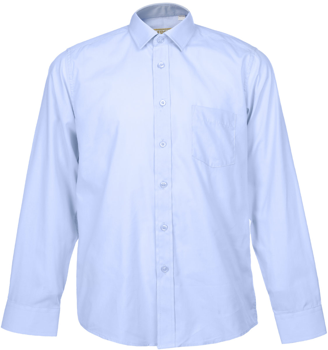 Рубашка для мальчика Tsarevich, цвет: голубой. Dream Blue. Размер 34/146-152, 12-13 летDream BlueСтильная рубашка для мальчика Tsarevich идеально подойдет для школы. Изготовленная из хлопка с добавлением полиэстера, она необычайно мягкая, легкая и приятная на ощупь, не сковывает движения и позволяет коже дышать, не раздражает даже самую нежную и чувствительную кожу ребенка, обеспечивая ему наибольший комфорт. Рубашка классического кроя с длинными рукавами и отложным воротничком застегивается на пуговицы, на груди она дополнена небольшим накладным кармашком. Рукава имеют широкие манжеты, также застегивающиеся на пуговицу.Такая рубашка - незаменимая вещь для школьной формы, отлично сочетается с брюками, жилетами и пиджаками.
