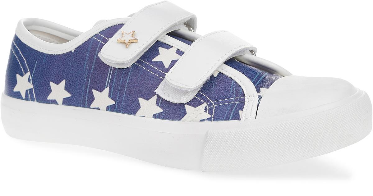 Кеды для девочки Зебра, цвет: белый, синий. 10361-5. Размер 3310361-5Стильные кеды от Зебра придутся по душе вашей девочке. Модель выполнена из искусственной кожи. Мыс изделия защищен резиновой вставкой. Ремешки с застежками-липучками обеспечивают надежную фиксацию модели на ноге. Подкладка из текстиля и стелька ЭВА с поверхностью из натуральной кожи комфортны при движении. Анатомическая стелька дополнена супинатором, который обеспечивает правильное формирование стопы и предотвращает плоскостопие. Подошва с рифлением гарантирует надежное сцепление с любыми поверхностями. Стильные кеды отлично впишутся в повседневный гардероб вашей девочки.