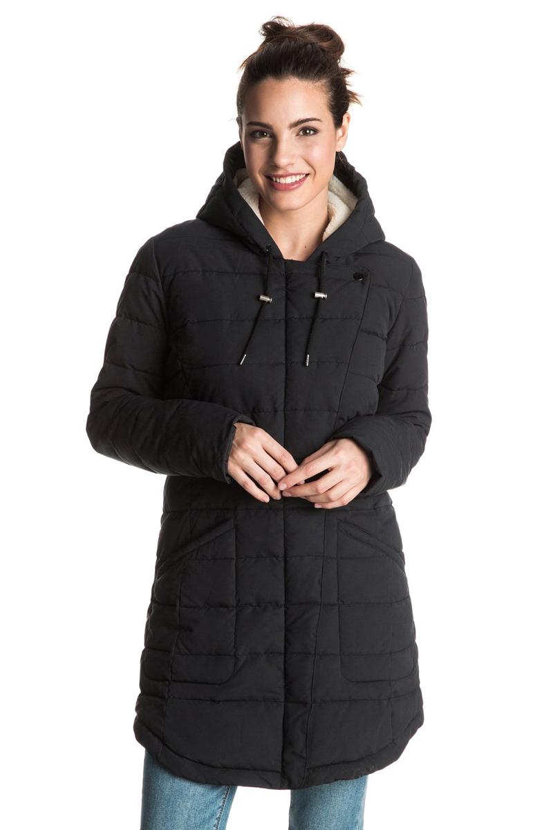 Куртка женская Roxy Indi Coast, цвет: черный. ERJJK03148-KVJ0. Размер XS (40/42)ERJJK03148-KVJ0Женская куртка с большим капюшоном выполнена из высококачественного материала. Подкладка из шерпы (включая капюшон). Застегивается асимметрично.Водоотталкивающий материал.Полусвободный крой.Рекомендуемый температурный режим до -15 радиусов.