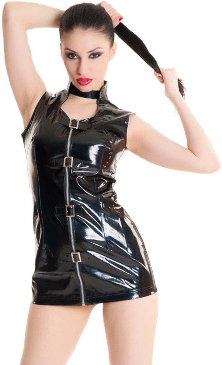 Платье гоу-гоу Erolanta Glossy, цвет: черный. 955003. Размер S (42)955003Платье гоу-гоу Erolanta Glossy выполенно из ПВХ и полиэстера. Модель имеет воротник-стойку и вырез на декольте. Изделие застегивается спереди с помощью застежки-молнии и ремешков с металлическими пряжками.