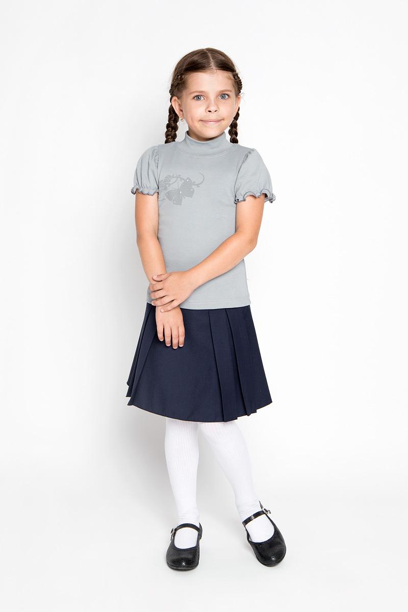Водолазка для девочки M&D, цвет: серый. AW5561B-20. Размер 158AW5561A-20/AW5561B-20Водолазка для девочки M&D идеально подойдет вашей маленькой принцессе. Изготовленная из натурального хлопка, она мягкая и приятная на ощупь, не раздражает нежную кожу ребенка и хорошо вентилируется, а эластичные швы приятны телу ребенка и не препятствуют его движениям. Водолазка с короткими рукавами-фонариками и воротником-стойкой оформлена изображением оригинальной бабочки, декорированным стразами. Воротник выполнен из трикотажной резинки.Современный дизайн и расцветка делают эту водолазку модным и стильным предметом детской одежды. В ней маленькой моднице будет комфортно и уютно!