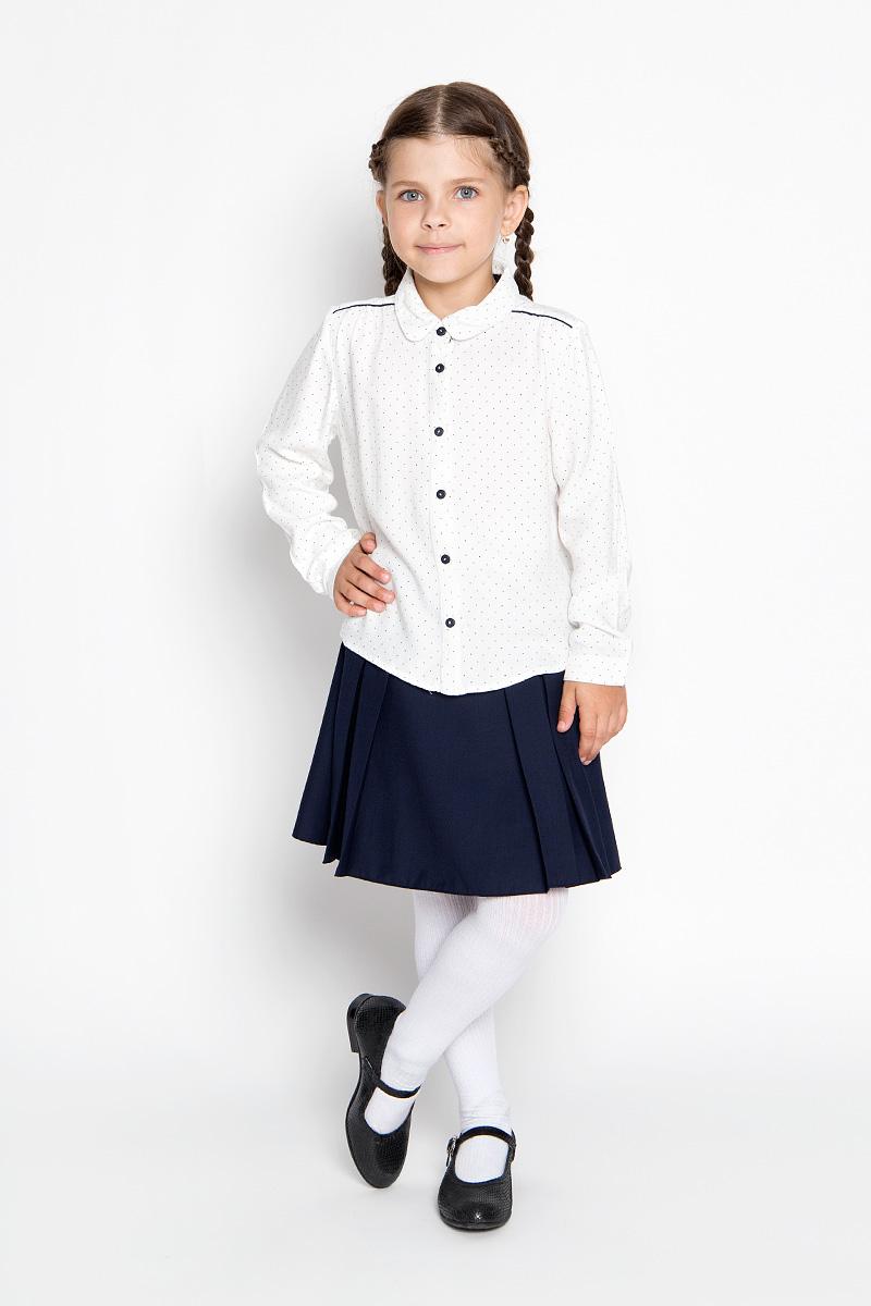 Блузка для девочки Sela, цвет: молочный. B-612/011-6361. Размер 116, 6 летB-612/011-6361Блузка для девочки Sela, выполненная из мягкой вискозы, займет достойное место в гардеробе юной модницы. Материал изделия тактильно приятный, не сковывает движения и хорошо пропускает воздух. Блузка с отложным воротником и длинными рукавами имеет свободный силуэт. Модель застегивается спереди на пуговицы. На рукавах предусмотрены манжеты с застежками-пуговицами. Спинка блузки удлинена. Оформлено изделие принтом в мелкий горошек.Блузка отлично сочетается с юбками и брюками. В ней ваша принцесса всегда будет в центре внимания!
