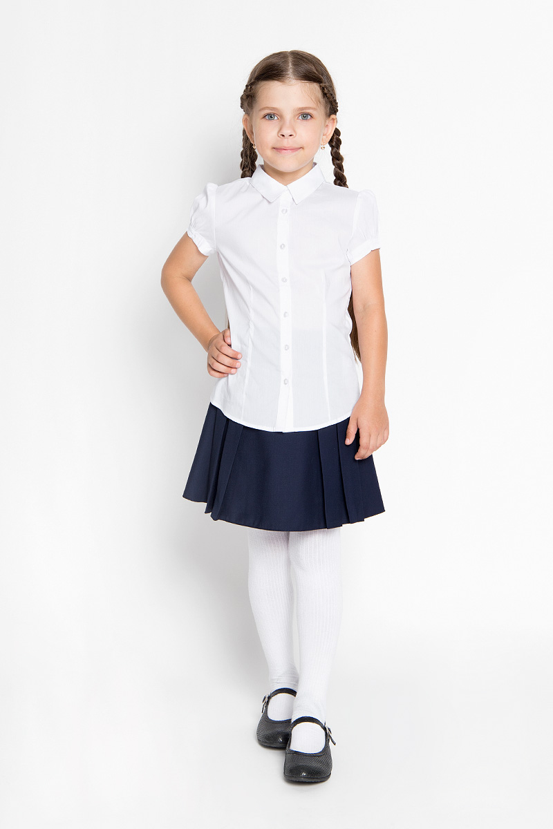 Блузка для девочки Sela, цвет: белый. Bs-612/842-6311. Размер 140, 10 летBs-612/842-6311_м746878005Стильная блузка для девочки Sela идеально подойдет вашей дочурке. Изготовленная из эластичного хлопка с добавлением нейлона, она мягкая и приятная на ощупь, не сковывает движения и позволяет коже дышать, обеспечивая наибольший комфорт.Блузка с короткими рукавами-фонариками и отложным воротничком застегивается на пластиковые пуговицы по всей длине. Рукава дополнены эластичными резинками.Современный дизайн и расцветка делают эту блузку стильным предметом детского гардероба. Модель можно носить как с джинсами, так и с классическими брюками.