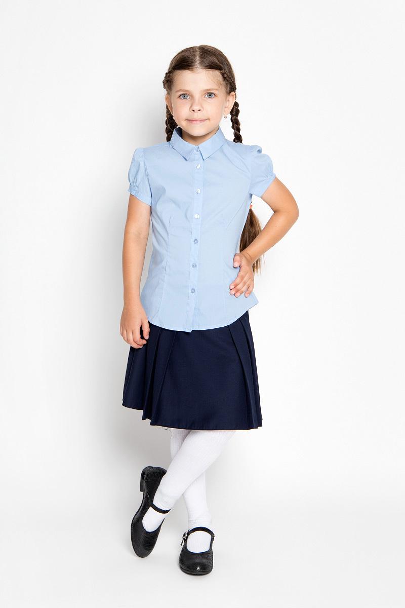 Блузка для девочки Sela, цвет: голубой. Bs-612/842-6311. Размер 116, 6 летBs-612/842-6311_м746878005Стильная блузка для девочки Sela идеально подойдет вашей дочурке. Изготовленная из эластичного хлопка с добавлением нейлона, она мягкая и приятная на ощупь, не сковывает движения и позволяет коже дышать, обеспечивая наибольший комфорт.Блузка с короткими рукавами-фонариками и отложным воротничком застегивается на пластиковые пуговицы по всей длине. Рукава дополнены эластичными резинками.Современный дизайн и расцветка делают эту блузку стильным предметом детского гардероба. Модель можно носить как с джинсами, так и с классическими брюками.