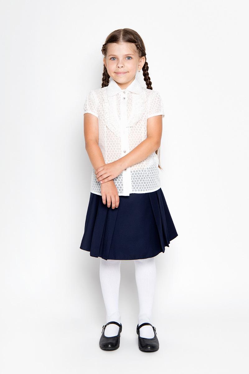 Блузка для девочки Nota Bene, цвет: молочный. CWR26015A-17. Размер 128CWR26015A-17Стильная блузка для девочки Sela идеально подойдет вашей дочурке. Изготовленная из хлопка с добавлением полиэстера, она мягкая и приятная на ощупь, не сковывает движения и позволяет коже дышать, обеспечивая наибольший комфорт. Блузка с короткими рукавами-фонариками и отложным воротничком застегивается на пластиковые пуговицы по всей длине. Модель выполнена из тонкого полупрозрачного полотна и оформлена цветочным узором.Современный дизайн и расцветка делают эту блузку стильным предметом детского гардероба. Модель можно носить как с джинсами, так и с классическими брюками.
