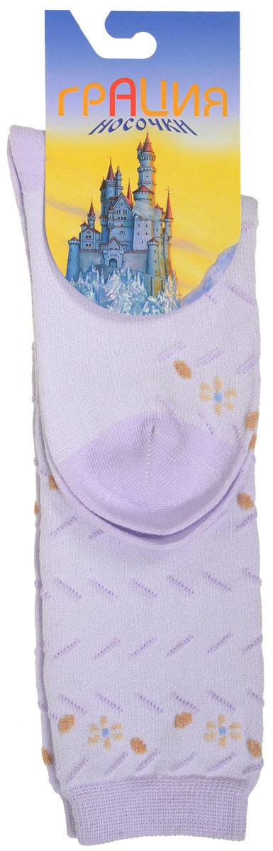 Гольфы для девочки Грация, цвет: светло-сиреневый. Д 2202. Размер 19/21Д 2202Гольфы для девочки Грация выполнены из мягкого эластичного материала. Изделие приятное на ощупь, хорошо пропускает воздух.Эластичная резинка мягко облегает ножку ребенка, создавая удобство и комфорт. Усиленные пятка и мысок обеспечивают надежность и долговечность. Гольфы оформлены рельефными вязаными полосками и цветочками контрастного цвета. Гольфы станут отличным дополнением к гардеробу маленькой модницы! Уважаемые клиенты!Размер, доступный для заказа, является длиной стопы.