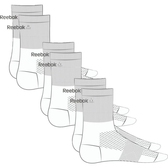 Носки Reebok Se U Mid Crew Sock, 3 пары, цвет: белый. AJ6245. Размер 47/50AJ6245Носки отлично сидят на ноге и эффективно отводят лишнюю влагу. Идеальный вариант как для тренировки, так и для повседневной носки. Дополнительная поддержка свода стопы гарантирует надежную посадку по ноге. Средняя высота для комфорта и надежной поддержке. Отлично сидят на ноге благодаря манжетам в рубчик и дополнительной поддержке свода стопы. Сетчатые вставки обеспечивают вентиляцию. Жаккардовый логотип Reebok контрастной расцветки. Три пары в упаковке.