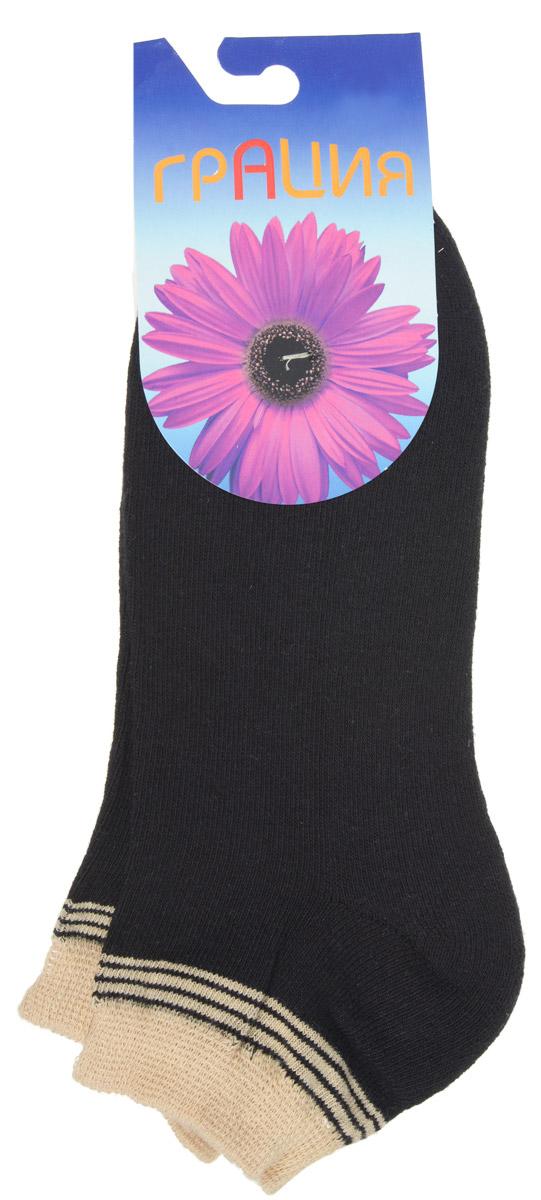 Носки женские Грация, цвет: черный, бежевый. H 050. Размер 1 (35/37)H 050Теплые женские носки Грация, изготовленные из высококачественного комбинированного материала, очень мягкие и приятные на ощупь, позволяют коже дышать. Эластичная резинка плотно облегает ногу, не сдавливая ее, обеспечивая комфорт и удобство. Внутренняя часть стопы махровая. Носки с укороченным паголенком, который оформлен нежным принтом в полоску.Удобные и комфортные носки великолепно подойдут к любой вашей обуви.
