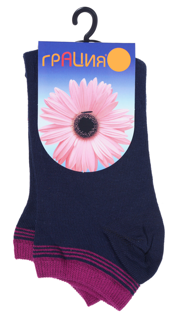 Носки женские Грация, цвет: темно-синий, фуксия. H 001. Размер 2 (38/40)H 001Удобные женские носки Грация, изготовленные из высококачественного комбинированного материала, очень мягкие и приятные на ощупь, позволяют коже дышать. Эластичная резинка плотно облегает ногу, не сдавливая ее, обеспечивая комфорт и удобство. Носки с укороченным паголенком оформлены полосками контрастного цвета в верхней части носка.Удобные и комфортные носки великолепно подойдут к любой вашей обуви.