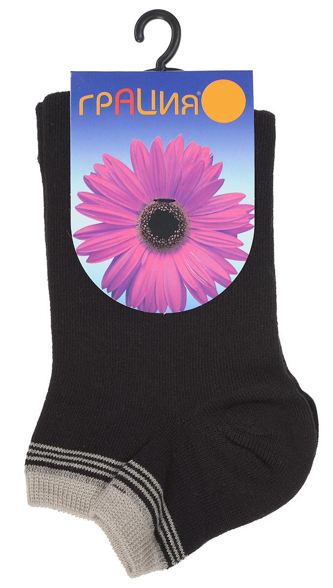 Носки женские Грация, цвет: черный, серо-бежевый. H 001. Размер 1 (35/37)H 001Удобные женские носки Грация, изготовленные из высококачественного комбинированного материала, очень мягкие и приятные на ощупь, позволяют коже дышать. Эластичная резинка плотно облегает ногу, не сдавливая ее, обеспечивая комфорт и удобство. Носки с укороченным паголенком оформлены полосками контрастного цвета в верхней части носка.Удобные и комфортные носки великолепно подойдут к любой вашей обуви.