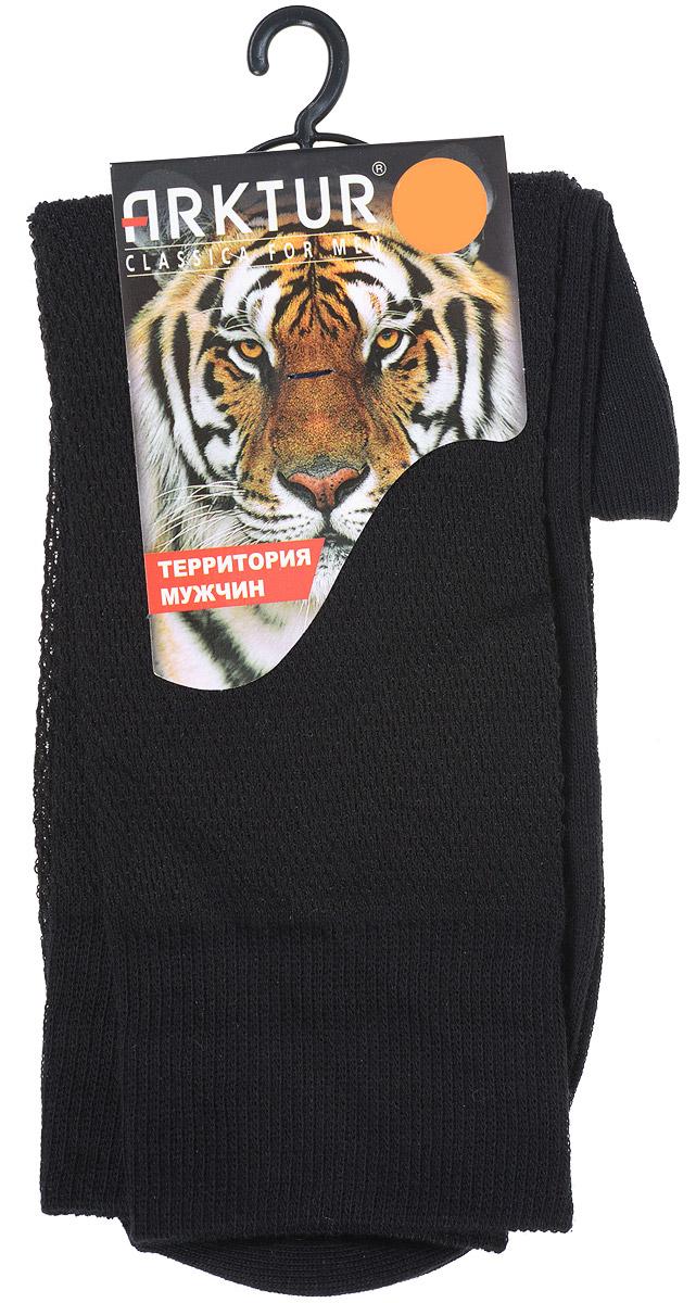Носки мужские Arktur, цвет: черный. J 011. Размер 42/43J 011Легкие мужские носки Arktur, изготовленные из высококачественного комбинированного материала, вязка сетка по всему носку. Комфортная широкая резинка пресс-контроль не сдавливает и комфортно облегает ногу.Очень мягкие и приятные на ощупь, позволяют коже дышать.Обладают повышенной прочностью, благодаря усиленной пятке и мыску.