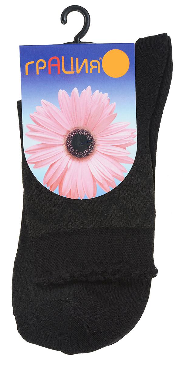Носки женские Грация, цвет: черный. М 1403. Размер 2 (38/40)М 1403Удобные женские носки Грация, изготовленные из высококачественного комбинированного материала, очень мягкие и приятные на ощупь, позволяют коже дышать. Эластичная резинка плотно облегает ногу, не сдавливая ее, обеспечивая комфорт и удобство. Носки со стандартным паголенком, который выполнен из полупрозрачного материала и оформлен нежным узором.Удобные и комфортные носки великолепно подойдут к любой вашей обуви.