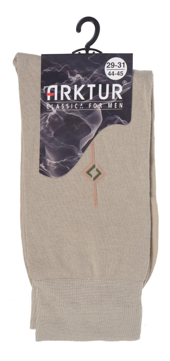 Носки мужские Arktur, цвет: бежевый. Л 204. Размер 44/45Л 204Всесезонные мужские носки Arktur с рисунком на паголенке оптимал-класса. Изготовлены из хлопка с небольшим добавлением полиамида. Комфортная широкая резинка пресс-контроль не сдавливает и мягко облегает ногу.Носки обладают повышенной прочностью, не подвержены усадке. Усиленная пятка и мысок. Удлиненный паголенок с абстрактным рисунком.