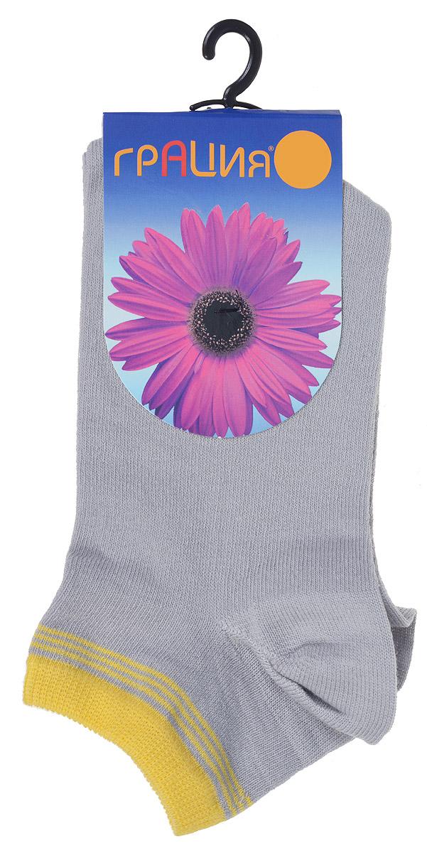Носки женские Грация, цвет: серый, желтый. H 001. Размер 2 (38/40)H 001Удобные женские носки Грация, изготовленные из высококачественного комбинированного материала, очень мягкие и приятные на ощупь, позволяют коже дышать. Эластичная резинка плотно облегает ногу, не сдавливая ее, обеспечивая комфорт и удобство. Носки с укороченным паголенком оформлены полосками контрастного цвета в верхней части носка.Удобные и комфортные носки великолепно подойдут к любой вашей обуви.