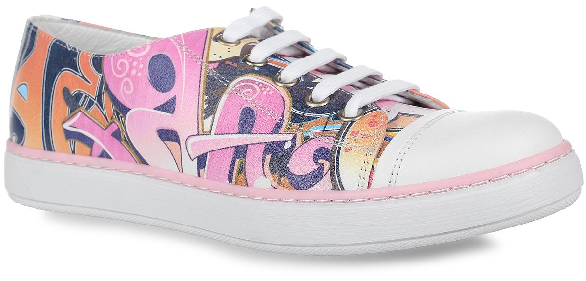 Кеды для девочки Kapika, цвет: розовый, белый, синий. 24088Т-1. Размер 3624088Т-1Стильные кеды от Kapika придутся по душе вашей девочке! Модель выполнена из натуральной кожи с ярким оригинальным принтом. Застегивается изделие на боковую застежку-молнию. Шнуровка прочно закрепит обувь на ноге. Внутренняя поверхность и стелька из натуральной кожи. Стелька дополнена супинатором с перфорацией, который обеспечивает правильное положение ноги ребенка при ходьбе, предотвращает плоскостопие. Рифленая поверхность подошвы обеспечивает отличное сцепление с любыми поверхностями. Удобные кеды - незаменимая вещь в гардеробе каждого ребенка.