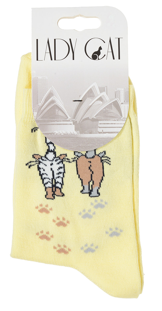 Носки женские Lady Cat, цвет: светло-желтый. М 3002. Размер 2 (38/40)М 3002Удобные женские носки Lady Cat, изготовленные из высококачественного комбинированного материала, очень мягкие и приятные на ощупь, позволяют коже дышать. Эластичная резинка плотно облегает ногу, не сдавливая ее, обеспечивая комфорт и удобство. Носки со стандартным паголенком оформлены принтом в виде забавных кошечек.Удобные и комфортные носки великолепно подойдут к любой вашей обуви.