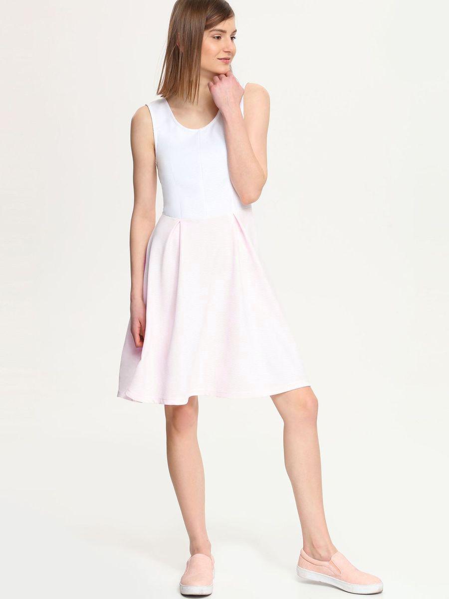 Платье Troll, цвет: белый, светло-розовый. TSU0518RO. Размер S (44)TSU0518ROПлатье Troll выполнено из полиэстера с добавлением эластана. Платье-миди с круглым вырезом горловины застегивается на застежку-молнию расположенную в среднем шве спинки. Юбка модели оформлена встречными складками.