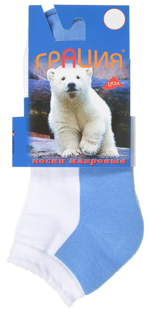Носки женские Грация, цвет: сине-голубой, белый. М 1007. Размер 1 (35/37)М 1007Женские теплые носки Грация, изготовленные из высококачественного комбинированного материала, очень мягкие и приятные на ощупь, позволяют коже дышать. Эластичная, ажурная резинка плотно облегает ногу, не сдавливая ее, обеспечивая комфорт и удобство. Нижняя часть носка выполнена из махры. Носки с укороченным паголенком оформлены в контрастных цветах.Удобные и комфортные носки великолепно подойдут к любой вашей обуви.