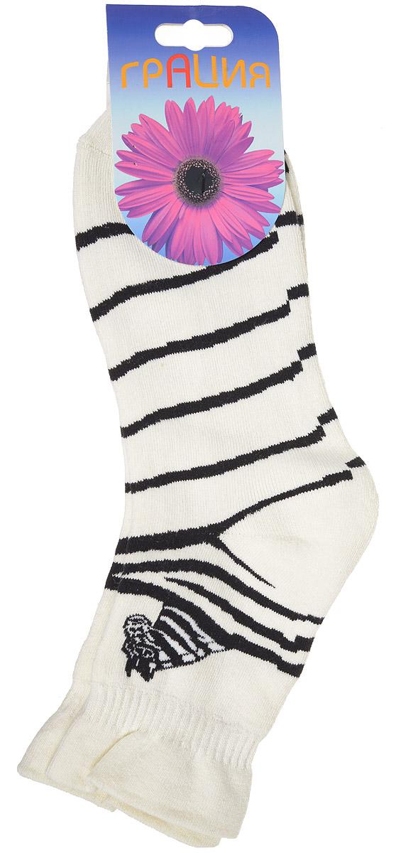 Носки женские Грация, цвет: молочный, черный. М 1063. Размер 1 (35/37)М 1063Женские теплые носки Грация, изготовленные из высококачественного комбинированного материала, очень мягкие и приятные на ощупь, позволяют коже дышать. Эластичная, резинка плотно облегает ногу, не сдавливая ее, обеспечивая комфорт и удобство. Махровые носки со стандартным паголенком оформлены принтом в полоску и рисунком в виде зебры.Удобные и комфортные носки великолепно подойдут к любой вашей обуви.
