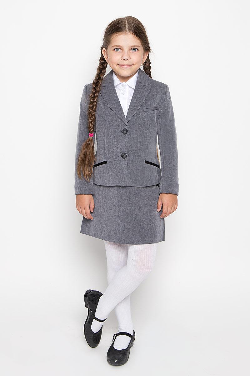 Жакет для девочки Orby School, цвет: серый. 64122_OLG, вариант 1. Размер 134, 9-10 лет64122_OLG, вариант 1Классический жакет для девочки Orby School - это базовый атрибут в школьном гардеробе, необходимый для будней и праздников. Изготовленный из полиэстера с добавлением вискозы и эластана, этот жакет необычайно мягкий и приятный на ощупь, не сковывает движения малышки и не раздражает даже самую нежную и чувствительную кожу ребенка, обеспечивая наибольший комфорт.Классический жакет с воротником с лацканами и длинными рукавами застегивается спереди на пуговицы. Спереди жакет дополнен втачным нагрудным кармашком, а также оформлен имитацией втачных карманов снизу. Изделие имеет формованные подплечники.Являясь важным атрибутом школьной моды, классический жакет подчеркнет деловой имидж ученицы, придавая ей уверенность.