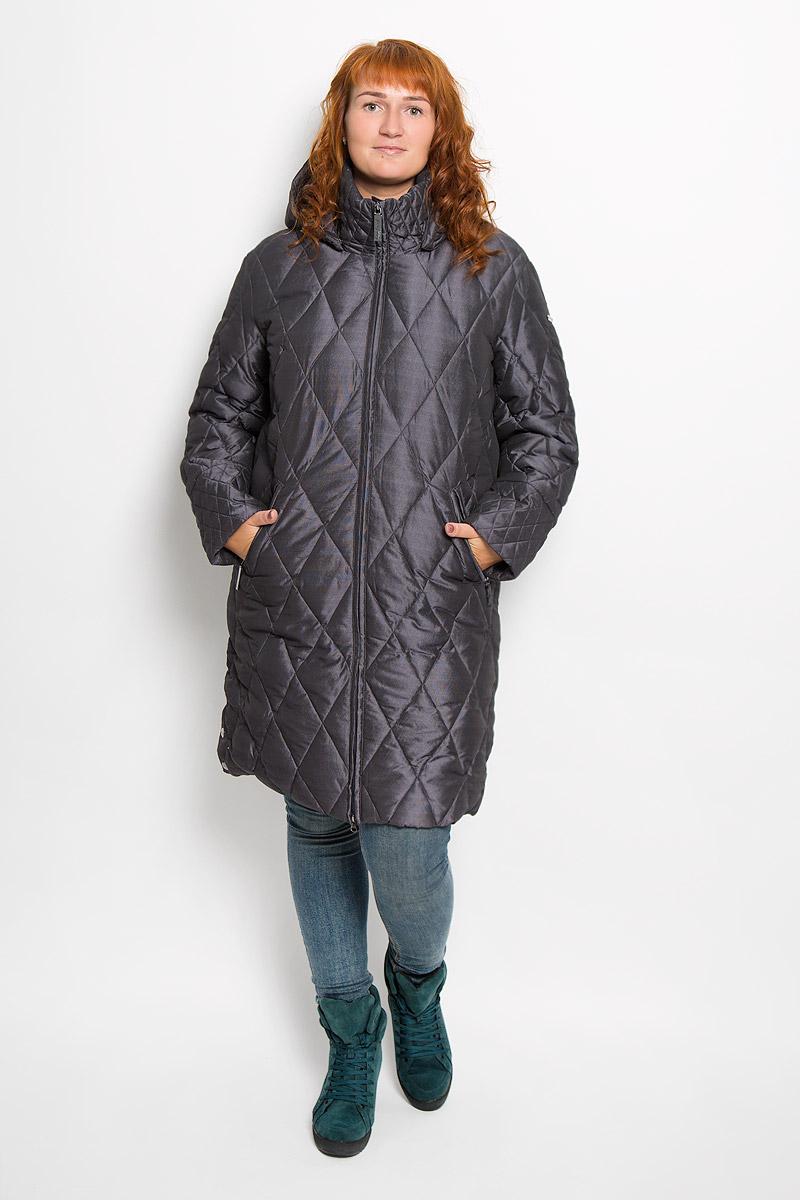 Пальто женское Finn Flare, цвет: темно-серый. A16-11026_204. Размер XL (50)A16-11026_204Удобное женское пальто Finn Flare согреет вас в холодную погоду и позволит выделиться из толпы. Удлиненная модель с длинными рукавами и воротником-стойкой выполнена из прочного полиэстера, застегивается на молнию спереди. Пальто имеет съемный капюшон на кнопках, объем которого регулируется при помощи шнурка-кулиски со стопперами. Изделие дополнено двумя втачными карманами на застежках-молниях спереди. Пальто оформлено стеганым узором. Плотный наполнитель из пера и пуха надежно сохранит тепло, благодаря чему такое пальто защитит вас от ветра и холода. Это модное и в то же время комфортное пальто - отличный вариант для прогулок, оно подчеркнет ваш изысканный вкус и поможет создать неповторимый образ.