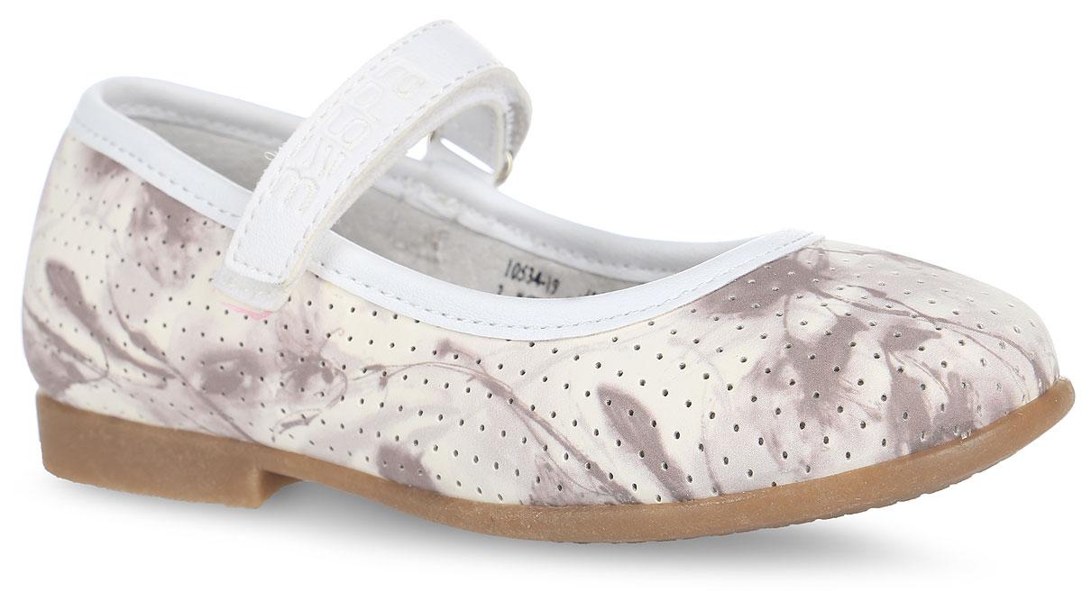 Туфли для девочки Зебра, цвет: молочный, тауп. 10534-19. Размер 2510534-19Чудесные туфли от Зебра придутся по душе вашей юной моднице! Модель выполнена из искусственной кожи, оформленной оригинальным принтом и перфорацией по всей поверхности. Широкий, устойчивый каблук продлен с внутренней стороны до середины стопы, чтобы исключить заваливание стопы вовнутрь. Ремешок на застежке-липучке надежно зафиксирует изделие на ножке ребенка. Подкладка выполнена из натуральной кожи, что предотвращает натирание и гарантирует уют. Стелька из ЭВА материала с поверхностью из натуральной кожи оснащена небольшим супинатором с перфорацией, который обеспечивает правильное положение ноги ребенка при ходьбе, предотвращает плоскостопие. Подошва оснащена рифлением для лучшего сцепления с различными поверхностями. Удобные туфли - незаменимая вещь в гардеробе каждой девочки.