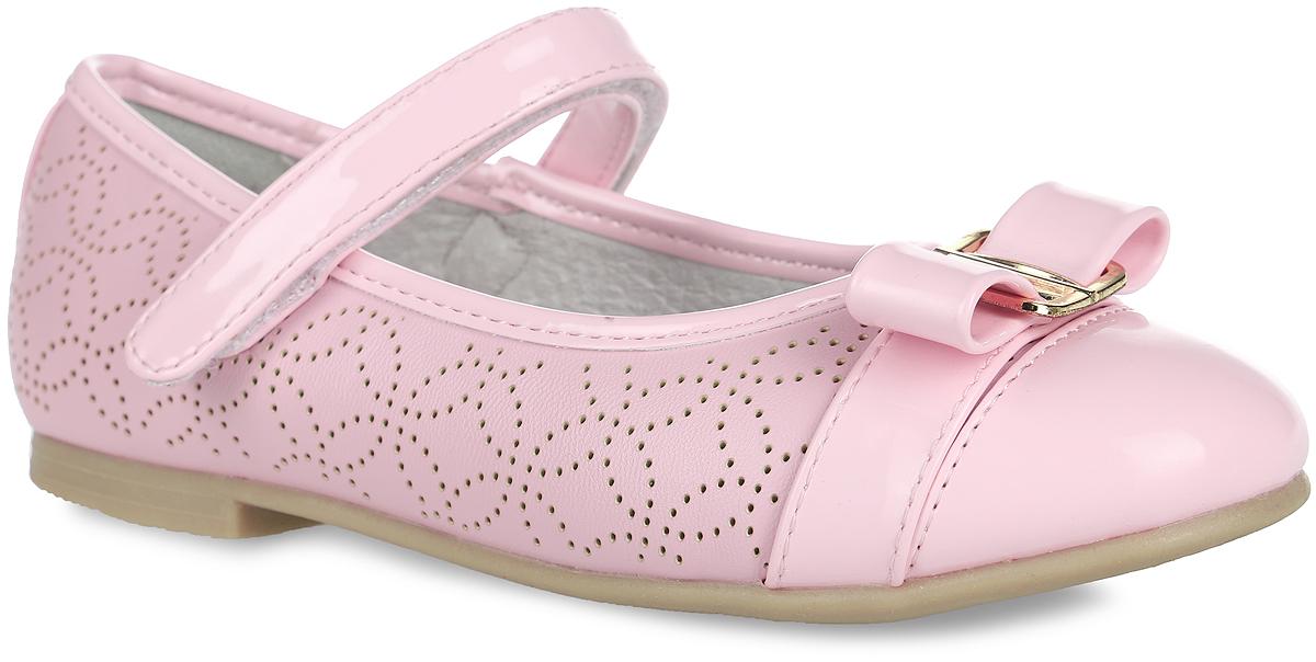 Туфли для девочки Зебра, цвет: розовый. 10392-9. Размер 3310392-9Красивые туфли Зебра очаруют вашу девочку с первого взгляда! Верх модели выполнен из искусственной кожи и лака. Внутренняя поверхность туфель изготовлена из натуральной кожи. Стелька из материала ЭВА с поверхностью из натуральной кожи дополнена супинатором с перфорацией, который обеспечивает правильное положение стопы ребенка при ходьбе и предотвращает плоскостопие.Модель с невысоким широким каблуком оснащена ремешком с застежкой-липучкой, который отвечает за надежную фиксацию на ноге. Подошва имеет рельефную поверхность. Изделие оформлено перфорированным рисунком, украшено декоративным ремешком с бантом и металлической пряжкой на мыске.Элегантные туфельки внесут изысканные нотки в образ вашей маленькой модницы.