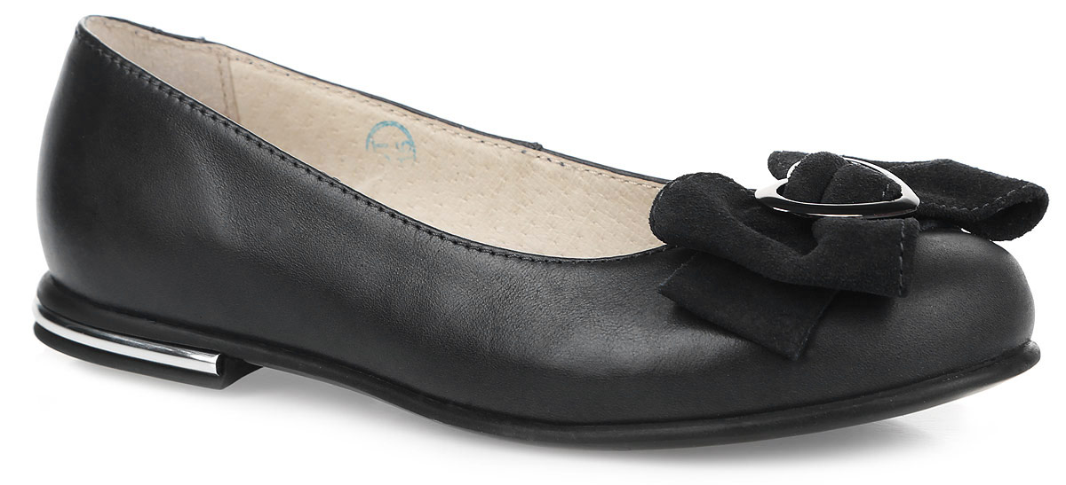Балетки для девочки Зебра, цвет: черный. 11180-1. Размер 3311180-1Балетки Зебра выполнены из натуральной кожи и оформлены декоративным бантиком из натурального велюра. Полужесткий задник зафиксирует ногу, не давая ей смещаться в разные стороны. Внутренняя поверхность из натуральной кожи комфортна при движении. Стелька выполнена из ЭВА-материала с поверхностью из натуральной кожи и дополнена перфорацией.Подошва выполнена из прочного ТЭП-материала и дополнена рельефным рисунком, который гарантирует отличное сцепление с любой поверхностью.