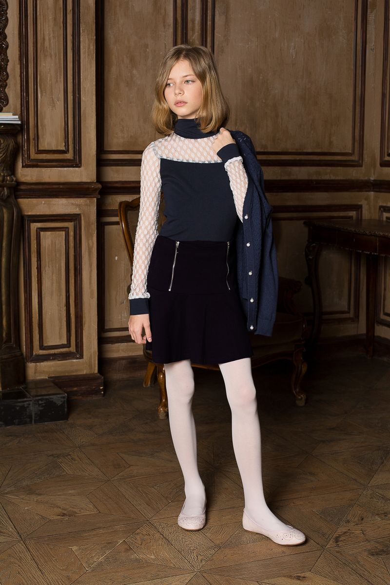 Юбка для девочки Luminoso, цвет: черный. 205641. Размер 158205641Юбка для девочки Luminoso на кокетке из качественного натурального трикотажа, декорированная функциональными молниями.